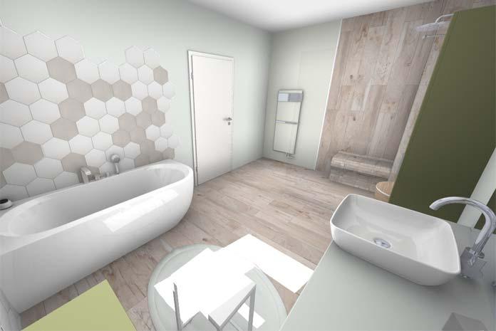 Une salle de bains zen, vue sur la douche et la baignoire