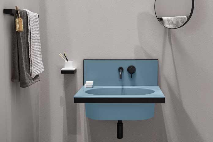 Lavabos avec crédence ou dosseret, modèle bleu Elle de Ceramica Cielo