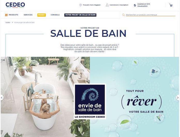 capture d'écran de la page d'accueil du site de cedeo envie de salle de bain