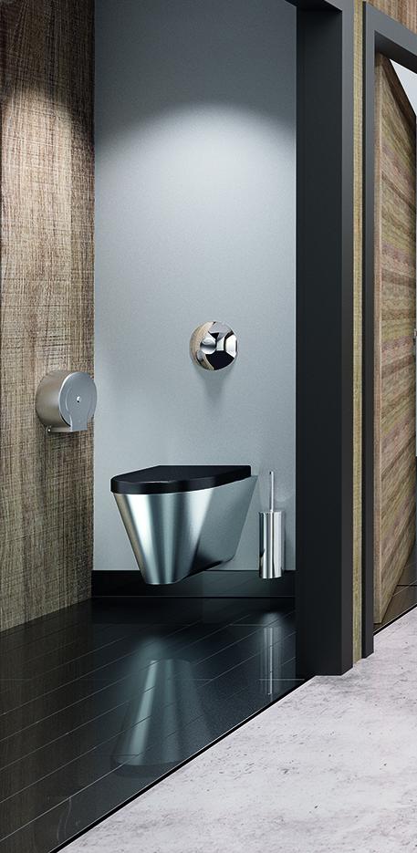 WC design en Inox avec abattant noir Delabie