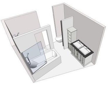 Aménager une grande salle de bain : plan de la solution Chassé-croisé d'Envie de salle de bain