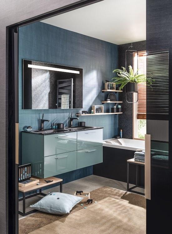 Meuble-de-salle-de-bain-de-couleur-verte