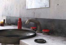 Robinet mélangeur avec croisillons rouges, Bongio
