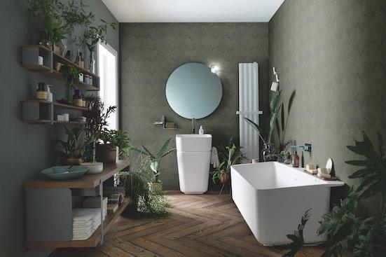 Papier peint salle de bain motif Tropical