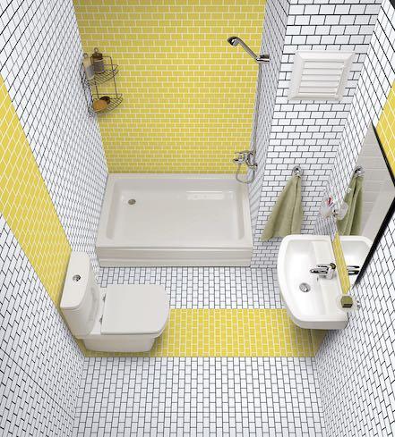 Salle de bain avec petits carreaux noirs et jaunes