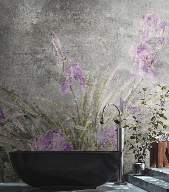Papier peint salle de bain motif Iris