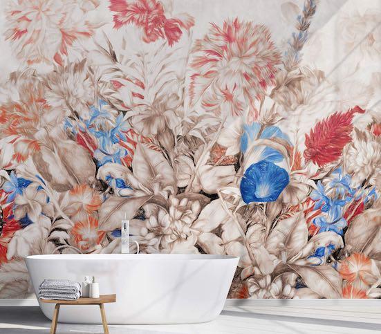 Papier peint salle de bain panoramique fleuri