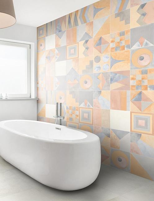 Mur carrelé façon patchwork