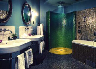 salle de bains avec une cloison courbe
