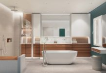 salle de bains avec baignoire ilot