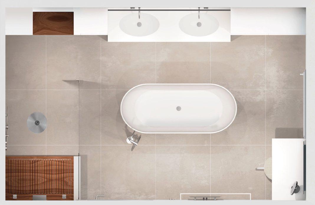 plan d'une salle de bain avec baignoire en ilot