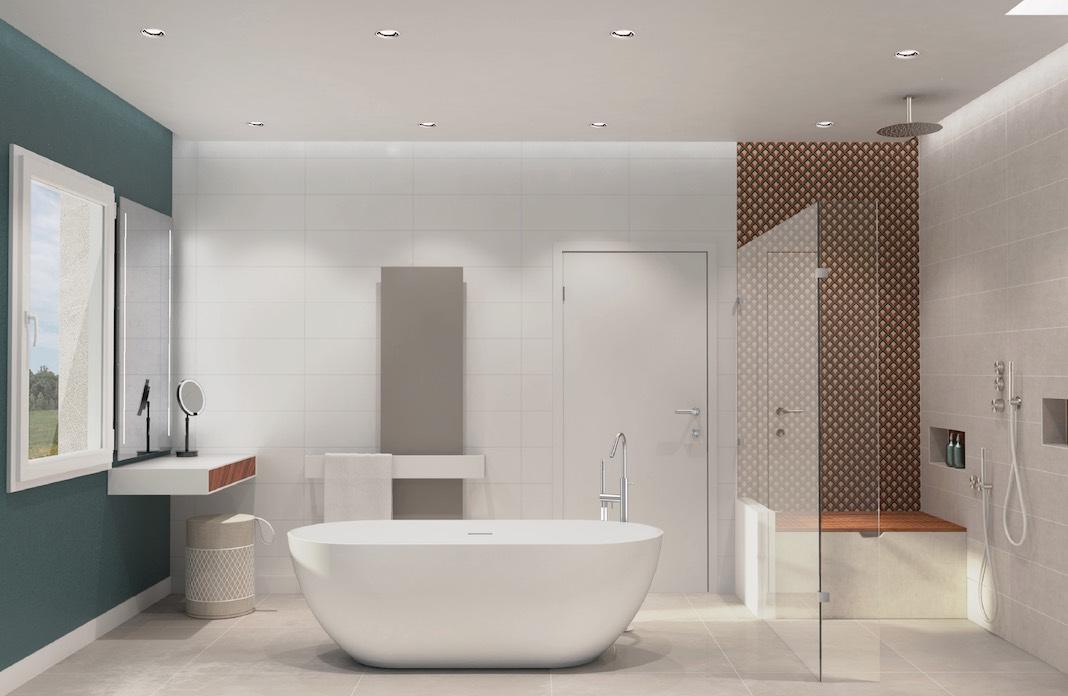 une salle de bains avec une baignoire ilot au centre