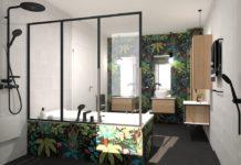 Salle de bains avec carrelage motif jungle et paroi de douche verrière