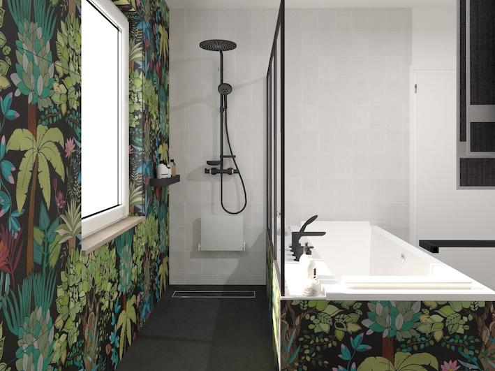 une douche à l'italienne et une baignoire séparées par une paroi verrière