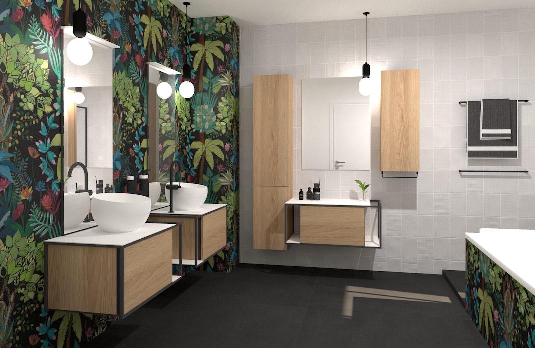 une salle de bains avec deux meubles vasques séparés et une coiffeuse