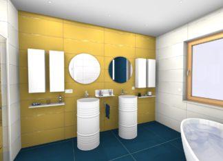 salle de bains aux murs jaunes et sol bleu