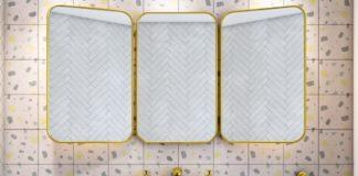 Lavabo sur mur avec carreaux de cimentfaçon terrazzo