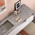 meuble avec plan vasque imitant le terrazoo gris