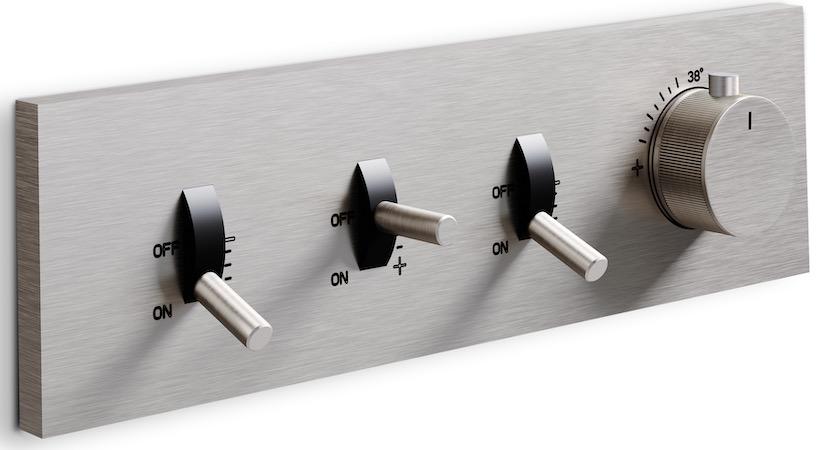 plaque de commande de douche encastrée avec bouton façon tuner