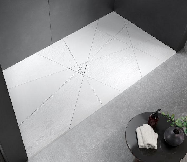 receveur de douche blanc Smart-Quizz avec ses rayures graphiques