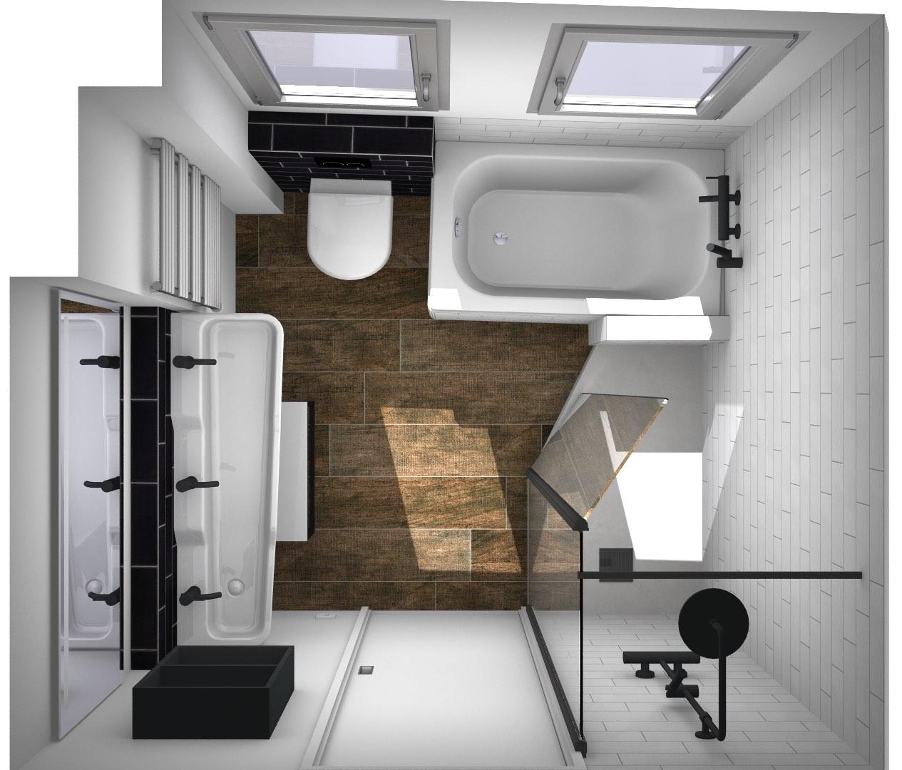 vue de dessus d'une petite salle de bains avec carrelage sol façon bois