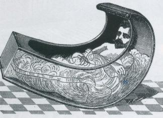 gravure d'un homme dans une baignoire façon rocking chair
