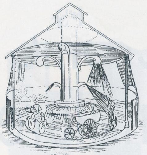 dessin d'une sorte de manège à douches