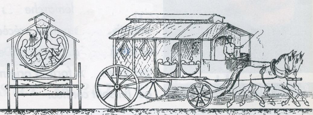 dessin d'une voiture à chevaux avec des baignoires dedans