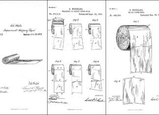 dessins anciens de rouleaux de papier toilette issus des brevets