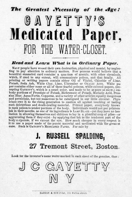 pub papier toilette américaine de la fin du XIXe
