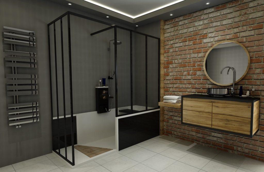 douche façon loft à la place de la baignoire