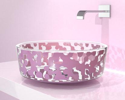 vasque en verre avec motif mauve