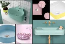 mosaique de vasques couleurs pastels
