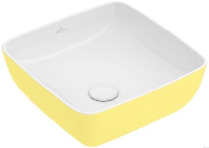 vasque carrée jaune à l'extérieur blanche à l'intérieur