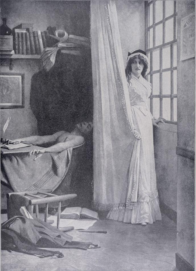 Gravure montrant Marat dans sa baignoire et Charlotte Corday