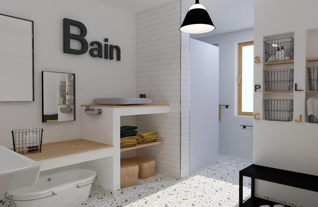 vue sur la douche et la table à langer dans une salle de bains enfants