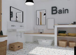 salle de bain enfant avec sol en terrazzo et murs blanc