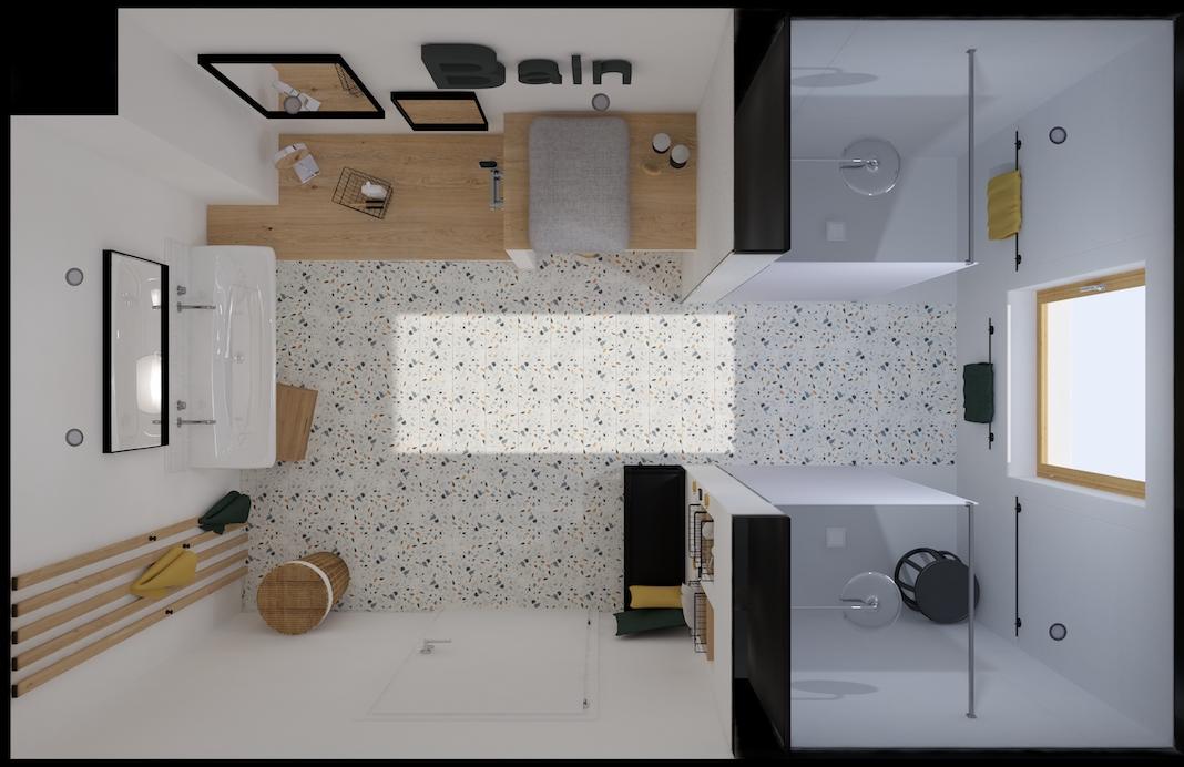 plan d'implantation d'une salle de bains enfants avec deux douches et un double lavabo