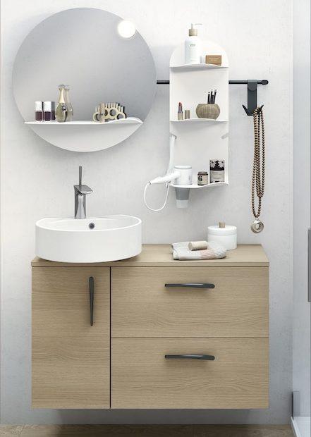 meuble de salle de bains décor bois et vasque blanche