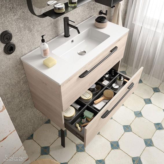 petit meuble de salle de bain décor bois