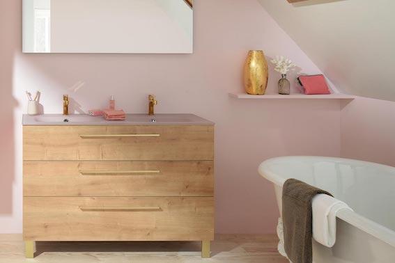 un meuble vasque en bois avec trois tiroirs