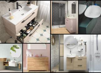 mosaique de photos de petits meubles de salle de bain