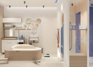 Une salle de bains enfants beige et bleue