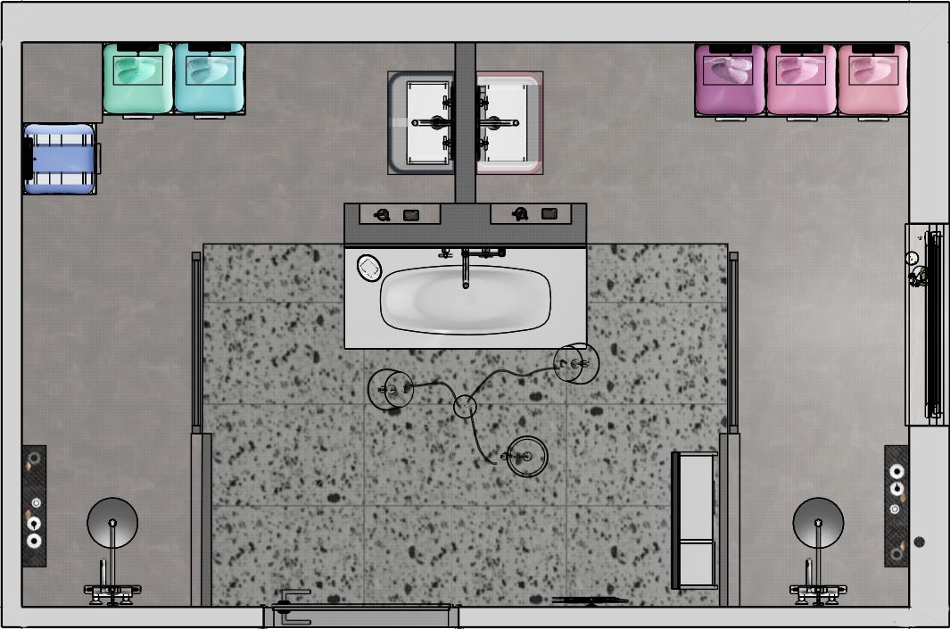 plan d'implantation d'une salle de bains mixte