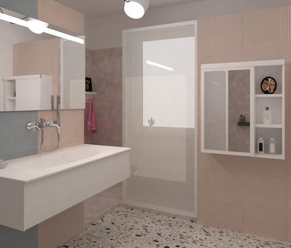 Dans une salle de bains, une table à langer escamotable fermée