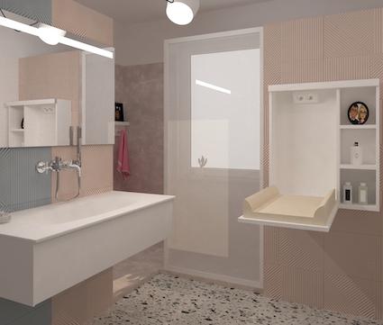 Dans une salle de bains, une table à langer escamotable ouverte