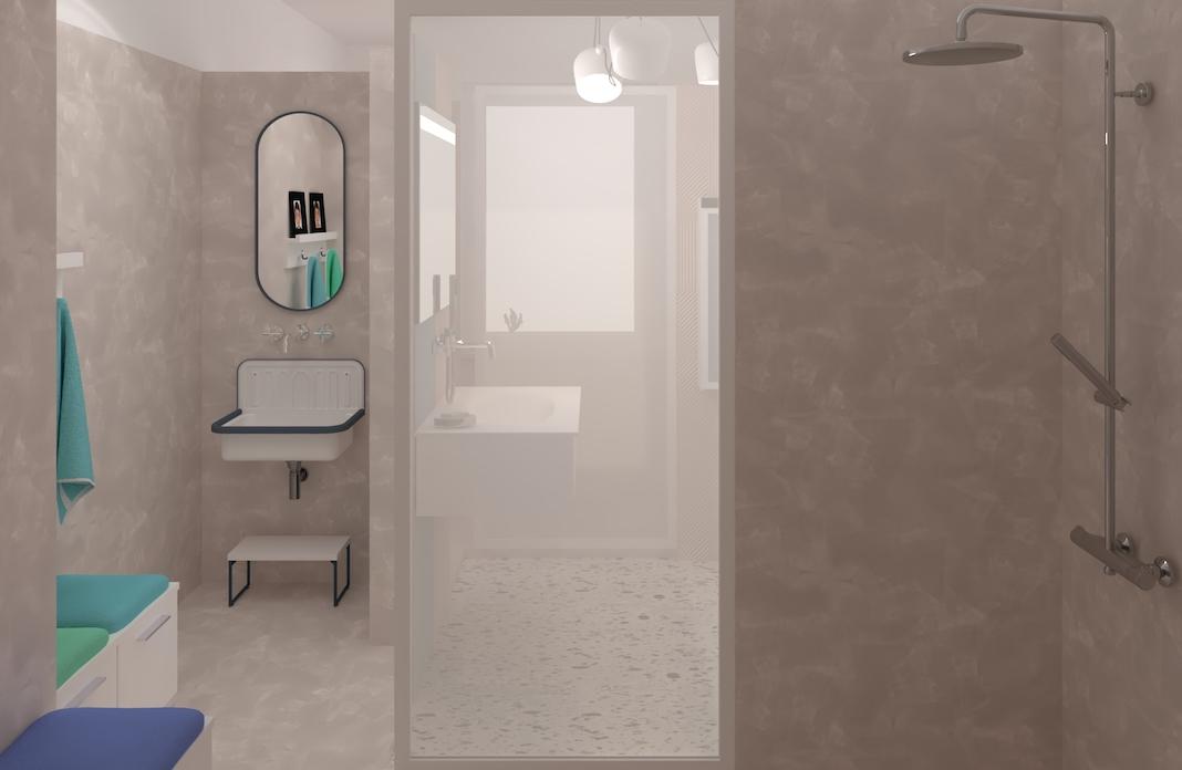 une salle d'eau pour les filles dans une salle de bains pour enfants