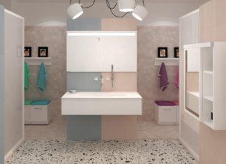un meuble vasque blanc au milieu d'une salle de bains