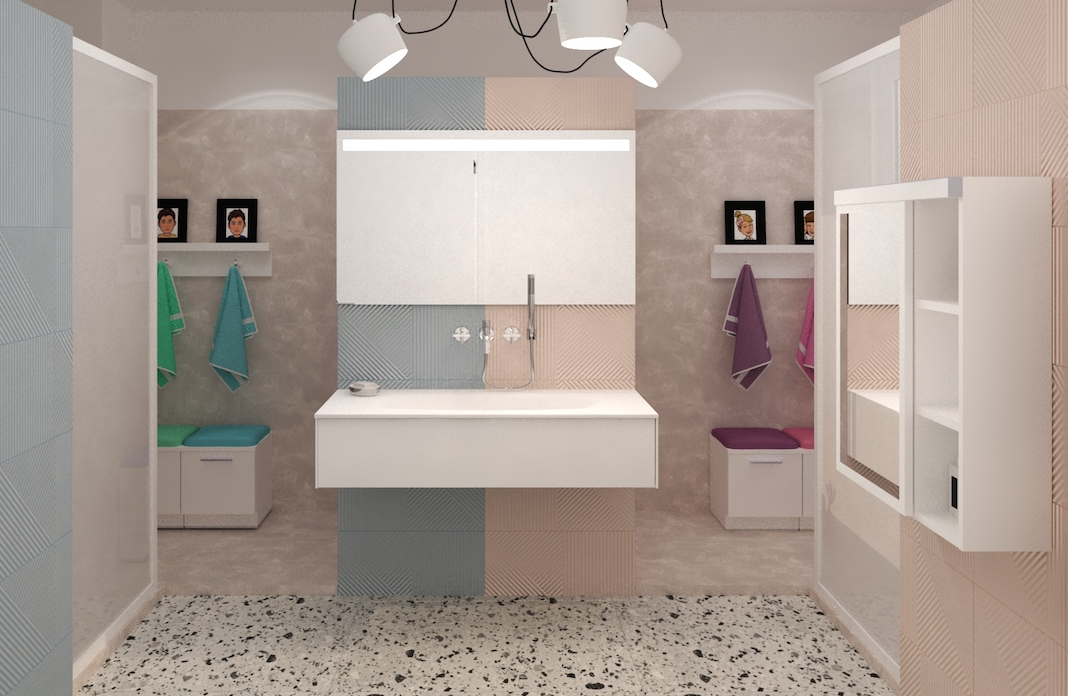 Une salle de bains enfants bleue d'un côté rose de l'autre