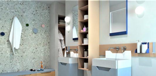 une salle de bains bleue pour enfants avec rangements